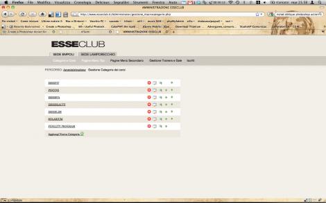 Screenshot amministrazione Esseclub