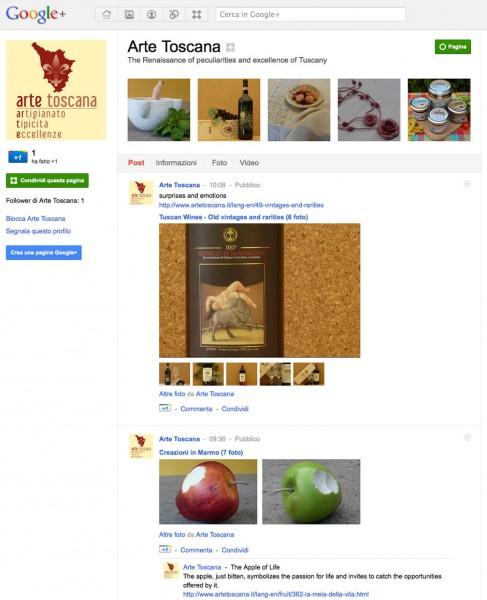 Pagina Google+ di Arte Toscana